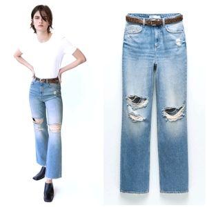 NWT ZARA |  Z1975 Hi-Rise Straight Leg Jeans Rips